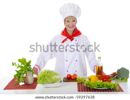 beautiful chef prepares breakfast. Isolated on white background - stock photo