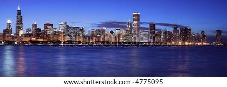 Beautiful Chicago skyline panoramic at night - stock photo