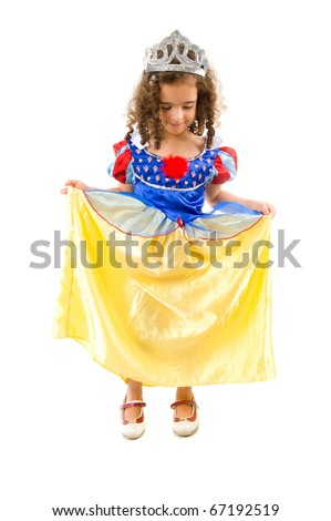 Beautiful child as cute princess in dress . - stock photo