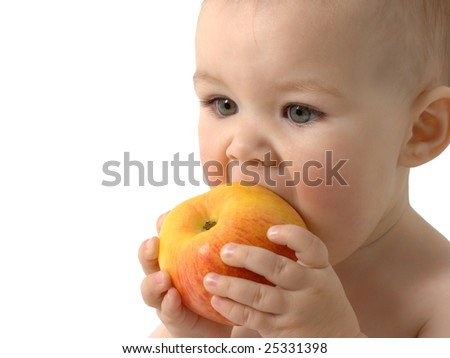 Beautiful child eats red apple, closeup , isolated over white - stock photo