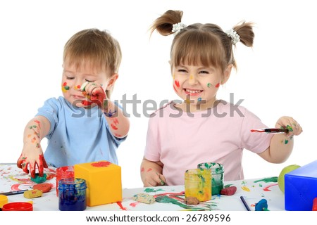 Beautiful child enjoying his game. Shot in a studio. - stock photo