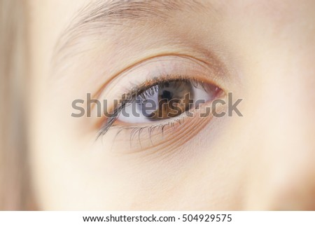Beautiful child eye, close up