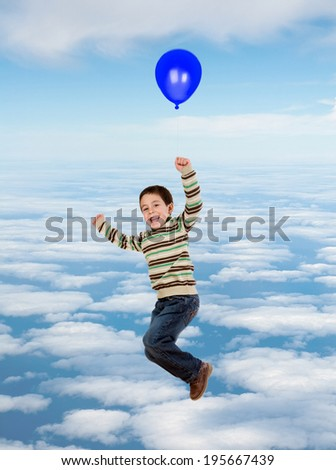 Beautiful child flying on the sky with a balloon isolated on a white background - stock photo