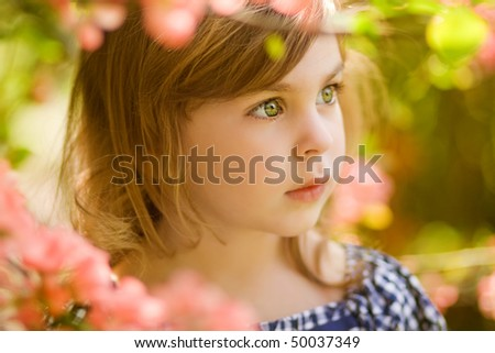 beautiful child in gloom - stock photo