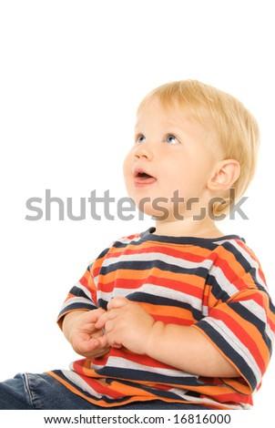 Beautiful child looking up. Isolated on white background - stock photo