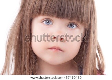 Beautiful child portrait. Isolated on white. - stock photo
