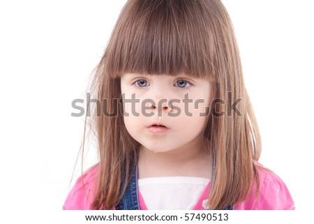 Beautiful child portrait. Isolated on white. - stock photo
