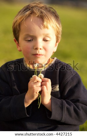 Beautiful child smelling flowers in pretty evening light - stock photo