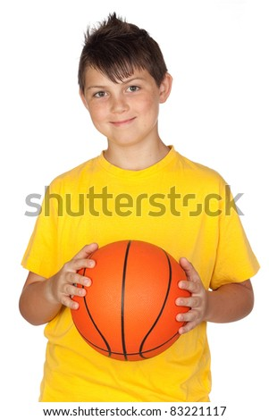 Beautiful child with basket ball isolated on white background - stock photo