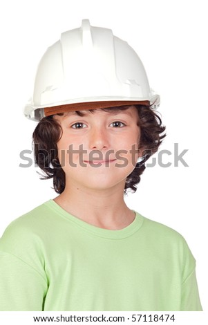 Beautiful child with helmet isolated on a over white background - stock photo