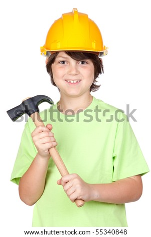Beautiful child with yellow helmet and hammer over a white background - stock photo