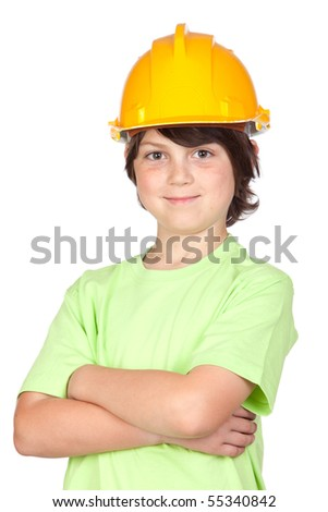 Beautiful child with yellow helmet isolated on a over white background - stock photo