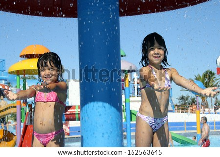 beautiful children in the pool