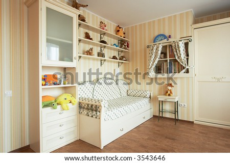 Beautiful children's room in the modern house - stock photo