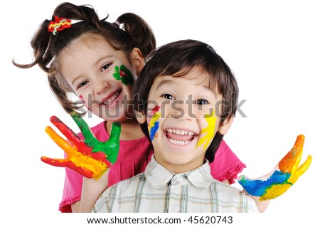 Beautiful children with colors - stock photo