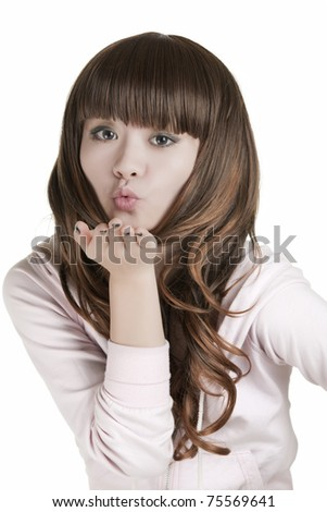 Beautiful Chinese woman displaying some attitude on a white background - stock photo