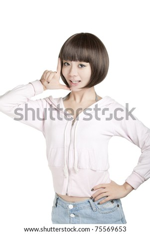 Beautiful Chinese woman displaying some attitude on a white background