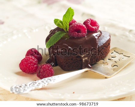 Beautiful chocolate cake with fresh raspberry. Selective focus - stock photo