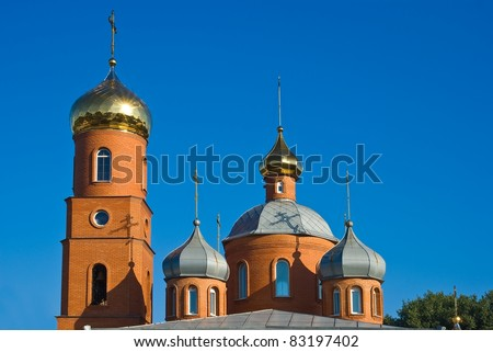 beautiful christian church on a blue sky background