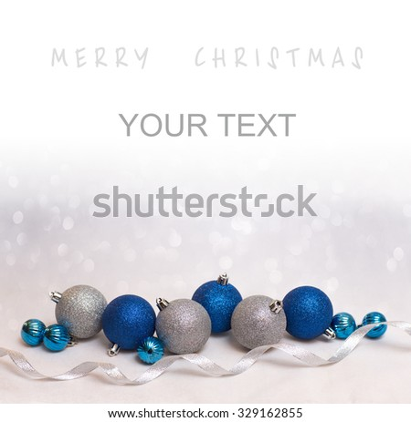 Beautiful Christmas background with blue and white christmas balls for xmas design with space for text - stock photo