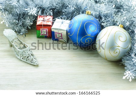 Beautiful Christmas ball for Decoration on wood background. - stock photo