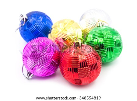 Beautiful christmas balls isolated on white