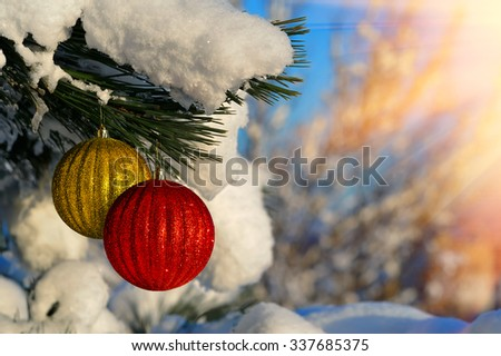 Beautiful Christmas balls on fir branches covered with snow. Christmas Background