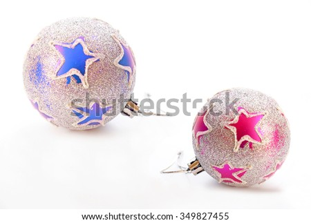 Beautiful christmas balls with glitter ornament isolated on white background - stock photo