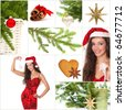 Beautiful christmas collage - green fir, gold star, smiling woman, red ball, candle - stock photo