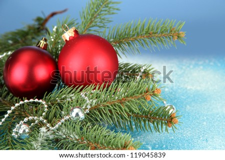 beautiful christmas composition on blue background - stock photo