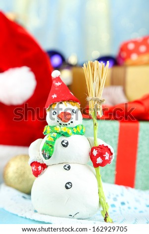 Beautiful Christmas composition with snowman close-up