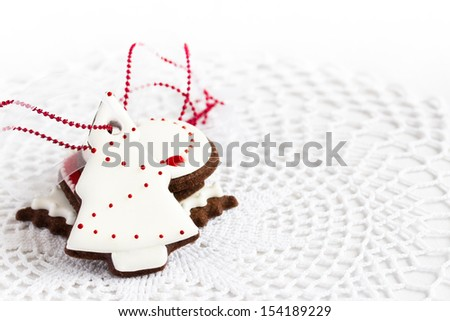 beautiful christmas cookies decorated with royal icing. Selective focus