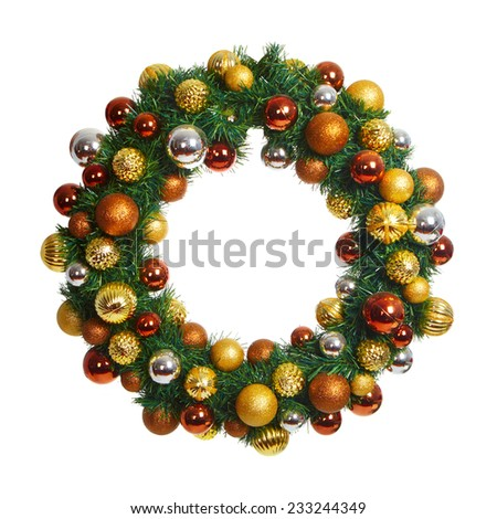 Beautiful Christmas crown isolated on white background - stock photo