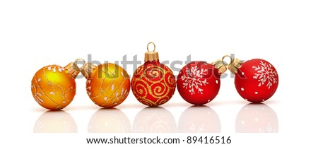 beautiful christmas decoration ball on a white background with space for text