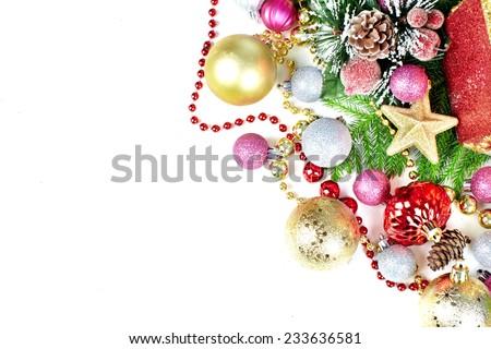 Beautiful Christmas decoration isolated on white background - stock photo