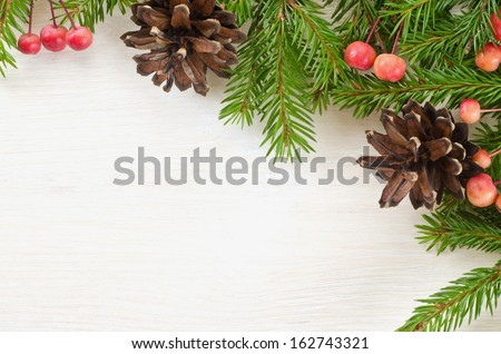 Beautiful Christmas decoration on wooden background