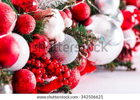 beautiful Christmas Decoration with Snow, buds and christmas balls - stock photo
