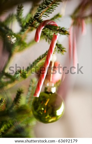 Beautiful christmas decorations hanging on christmas tree - stock photo