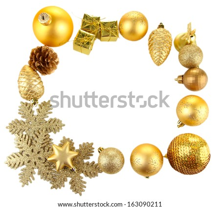 Beautiful Christmas decorations isolated on white - stock photo