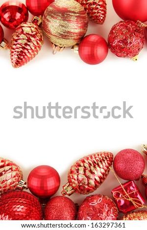 Beautiful Christmas decorations isolated on white - stock photo