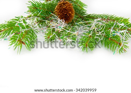 Beautiful Christmas decorations isolated on white background . Top image.