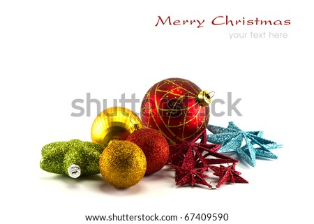 Beautiful christmas decorations on white background with copy space. - stock photo