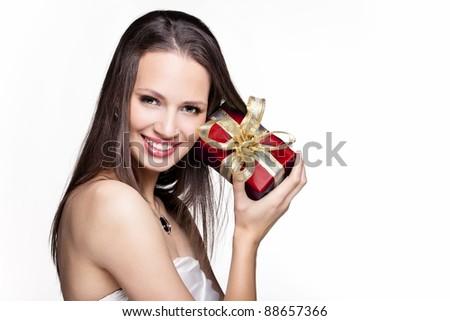 Beautiful christmas girl with gift box - stock photo