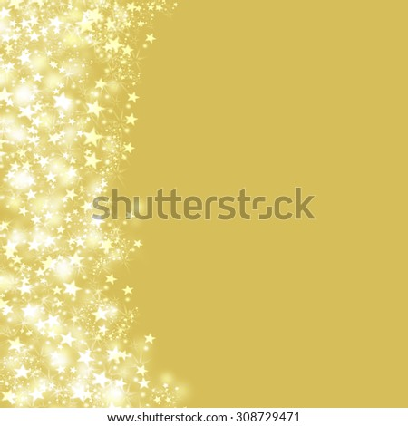 Beautiful Christmas gold color postcard concept with stardust. Pixie dust golden glowing background with space for text. Elegant square greeting card with shining stars, glittering sparkles and dust. - stock photo