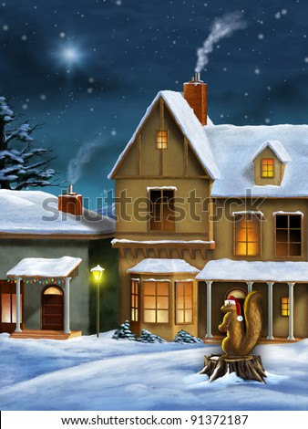 Beautiful christmas landscape with a snow covered village and a squirrel wearing a santa's hat. Digital illustration. - stock photo