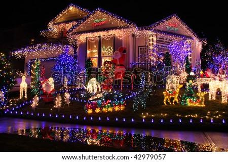 Beautiful Christmas lights display. - stock photo