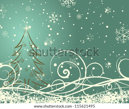 Beautiful Christmas (New Year)retro  card. Raster version. - stock photo