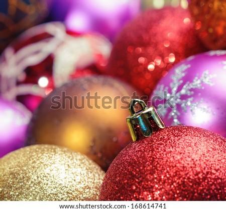 Christmas bells against window