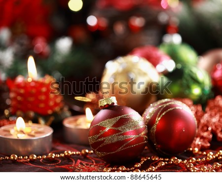 Beautiful Christmas ornaments as table decoration - stock photo