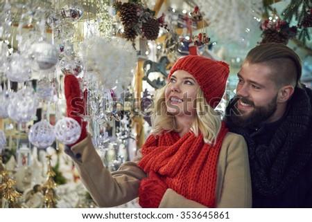 Beautiful christmas ornaments at the christmas market - stock photo